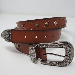 Boho Western Studded Faux Leather Floral Belt